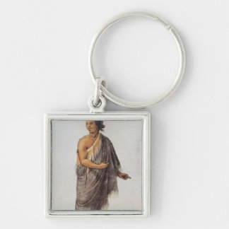 Old Indian Man Silver-Colored Square Keychain