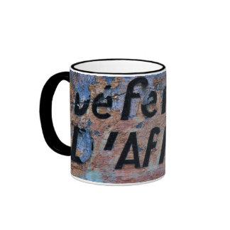 Old inscription ringer mug