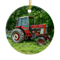 Old International Tractor Ceramic Ornament