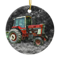 Old International Tractor Painterly Ceramic Ornament