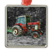 Old International Tractor Painterly Metal Ornament