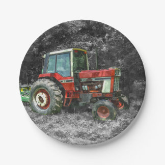 Old International Tractor Painterly Paper Plate