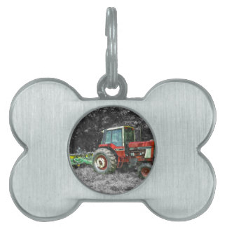 Old International Tractor Painterly Pet Name Tag