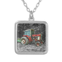 Old International Tractor Painterly Silver Plated Necklace