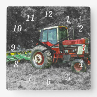 Old International Tractor Painterly Square Wall Clock