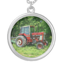 Old International Tractor Silver Plated Necklace