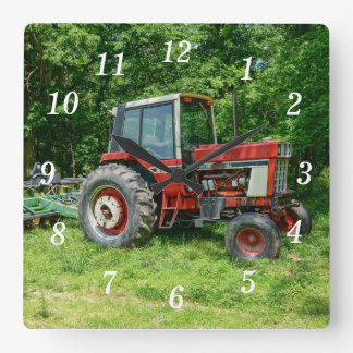 Old International Tractor Square Wall Clock