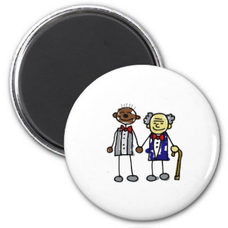 Old Interracial Gay Couple - Asian Black Refrigerator Magnet