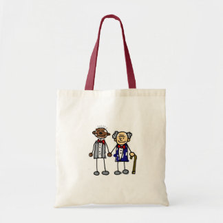 Old Interracial Gay Couple Budget Tote Bag