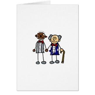 Old Interracial Gay Couple card