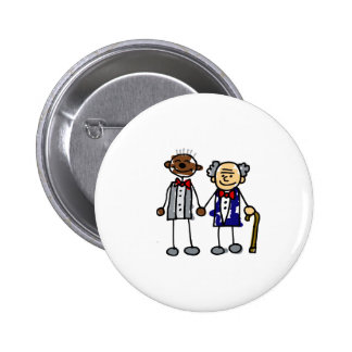 Old Interracial Gay Couple Pinback Button