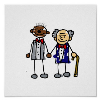 Old Interracial Gay Couple Poster