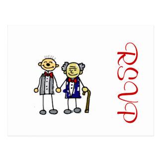 Old Interracial Gay Couple white asian Postcard