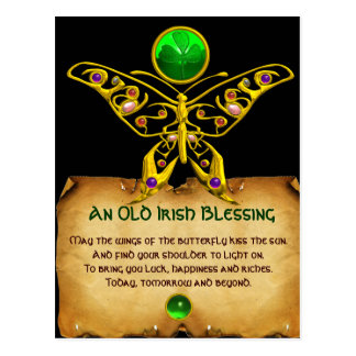 Old Irish Blessing For Luck Parchment /Butterfly Postcard