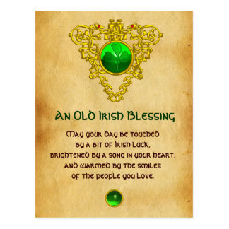 Old Irish Blessing For Luck Parchment,Celtic Knots Postcard