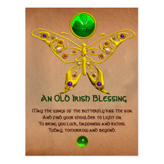 Old Irish Blessing For Luck Parchment Postcard