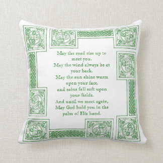 Old Irish Blessing in Celtic Knots Throw Pillow