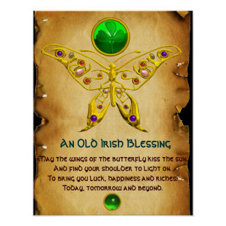 Old Irish Blessing Parchment with Gold Butterfly Poster