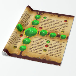 Old Irish Christmas Blessing Parchment ,Shamrocks Wrapping Paper