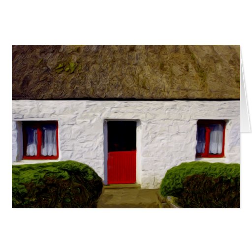 Old irish cottage with house warming blessing card zazzle - House warming blessing ...