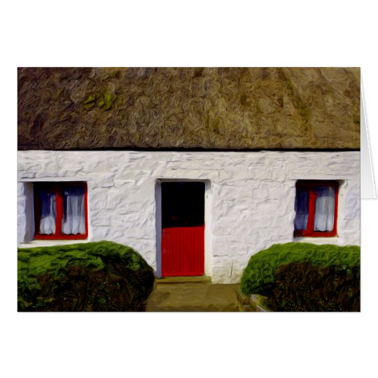 Old Irish Cottage with thatch roof Card