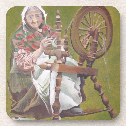 Old Irish Woman Sitting At A Spinning Wheel Drink Coaster