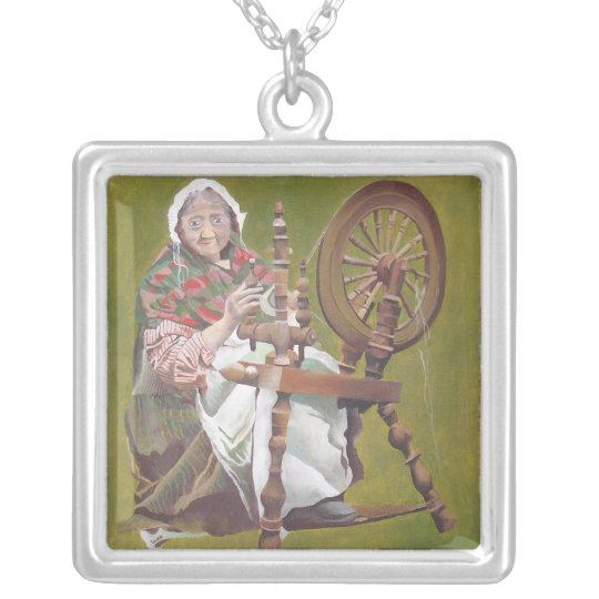 Old Irish Woman Sitting At A Spinning Wheel Silver Plated Necklace