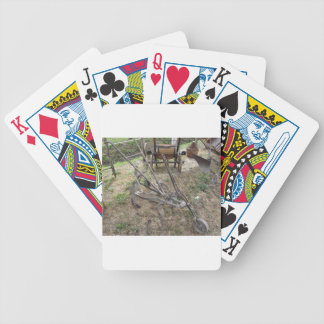 Old iron plow and other agricultural tools bicycle playing cards