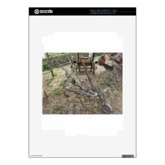 Old iron plow and other agricultural tools decals for iPad 2