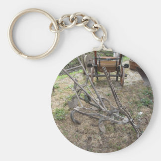 Old iron plow and other agricultural tools keychain