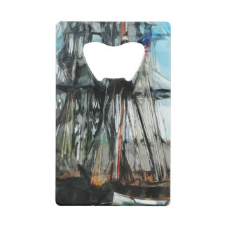 Old Ironsides Boston Harbor Abstract Impressionism Credit Card Bottle Opener