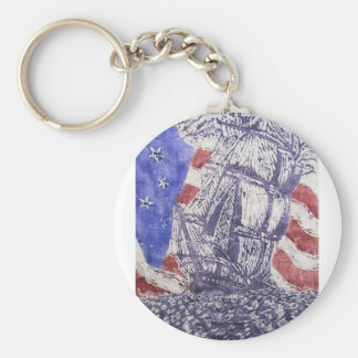 old ironsides woodcut print keychain