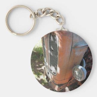 Old italian crawler tractor basic round button keychain