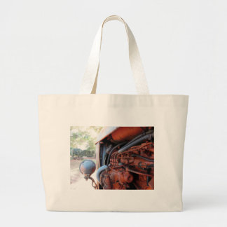Old italian crawler tractor large tote bag