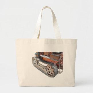 Old italian crawler tractor large tote bag