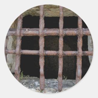 old jailhouse window classic round sticker