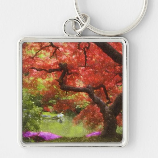 Old Japanese Maple Silver-Colored Square Keychain