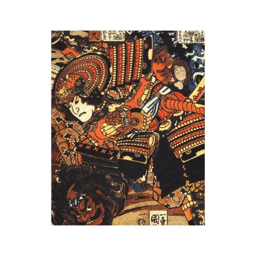 old japanese painting of samurai fighting c 1800s canvas    Old Samurai Painting