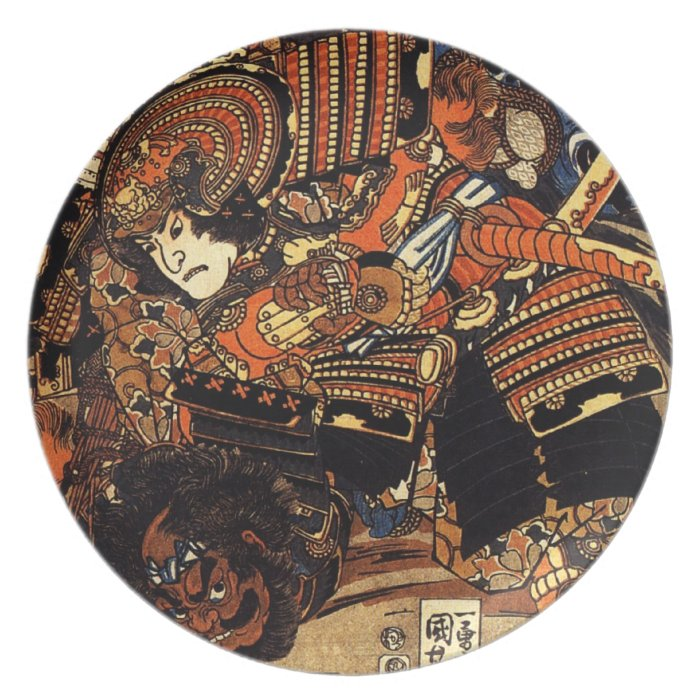 Old Japanese Painting of Samurai Fighting c 1800s Dinner PlateOld Samurai Painting