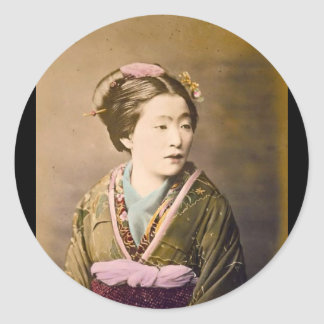 Old Japanese Picture circa 1870 Classic Round Sticker