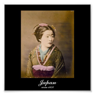 Old Japanese Picture of a Woman circa 1870 Poster