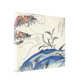 Old Japanese Sea Life Painting Canvas Print