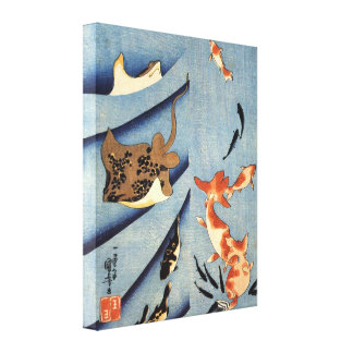 Old Japanese Sea Life Painting circa 1800s Gallery Wrap Canvas