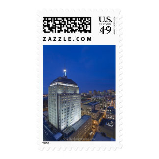 Old John Hancock Building with Boston in the Postage Stamps