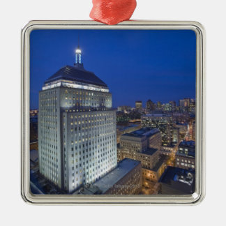 Old John Hancock Building with Boston in the Square Metal Christmas Ornament