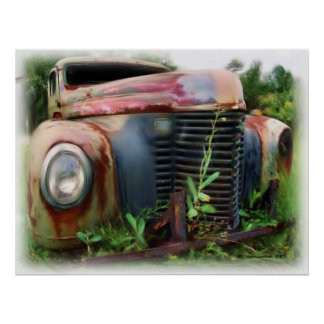Old Junk International Truck Poster