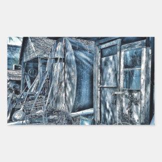 Old junkyard sheds, rustic B&W Rectangular Sticker