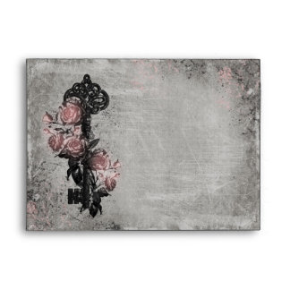 Old Key and Roses A4 Envelopes