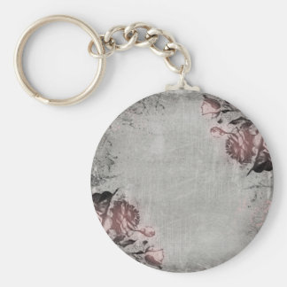 Old Key and Roses Basic Round Button Keychain