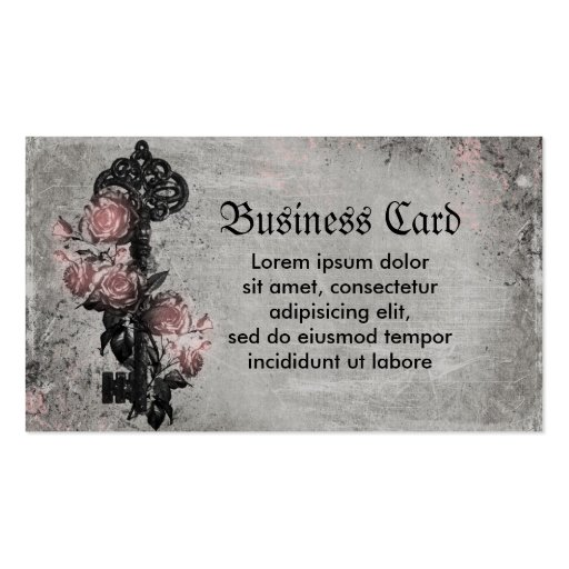 Old Key and Roses Double-Sided Standard Business Cards (Pack Of 100)